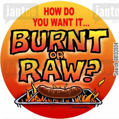 aprons cartoon humor: Burnt or Raw?