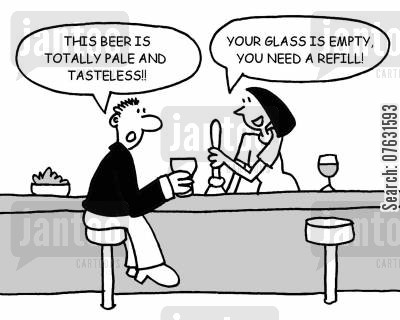 landlady cartoon humor: This beer is totally pale and tasteless!! Your glass is empty, you need a refil!
