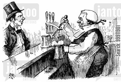 pulling cartoon humor: Barrister 'at the bar' serving beer
