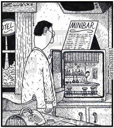 miniature cartoon humor: 'Minibar' - A HotelMotel with an actual miniature Bar and Bartender in its minibar fridge.