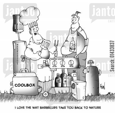 botulism cartoon humor: I love the way barbecues take you back to nature.