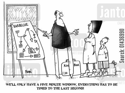 time manager cartoon humor: 'We'll only have a five minute window, everything has to be timed to the last second.'