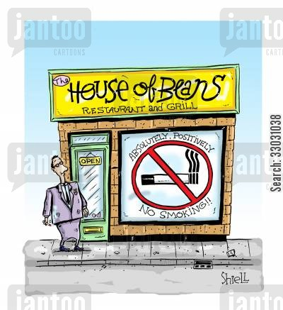 no smoking cartoon humor: House of Beans.