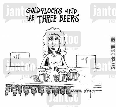 landlady cartoon humor: Goldylocks and the Three Beers.