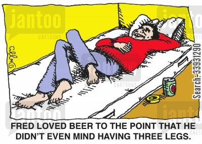 beer drinkers cartoon humor: Fred loved beer to the point that he didn't even mind having three legs.