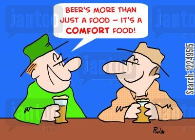 comfort foods cartoon humor: 'Beer's more than just a food -- it's a comfort food!'