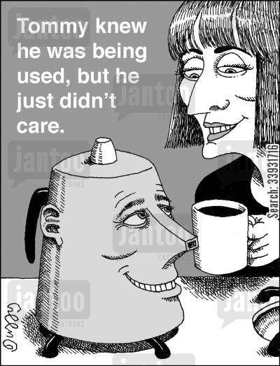coffee drinker cartoon humor: Tommy knew he was being used, but he just didn't care.