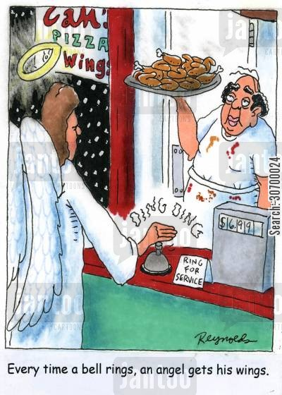 earn your wings cartoon humor: Every time a bell rings, an angel gets his wings.