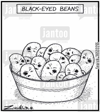 black eye cartoon humor: Black-eyed beans.