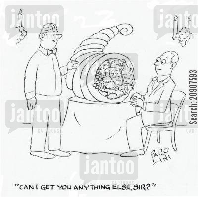 big meal cartoon humor: 'Can I get you anything else, sir?'