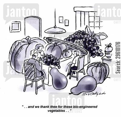 lunches cartoon humor: '..and we thank thee for these bio-engineered vegetables..'