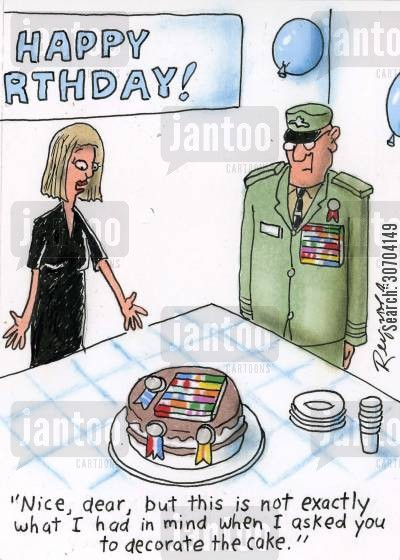 decorating cakes cartoon humor: 'Nice dear, but this is not exactly what I had in mind when I asked you to decorate the cake.'