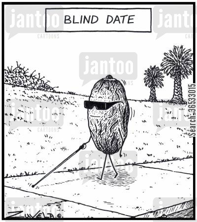 internet dating cartoon humor: A blind palm date fruit having on a walk.