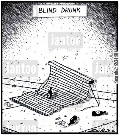 curtains cartoon humor: Blind drunk