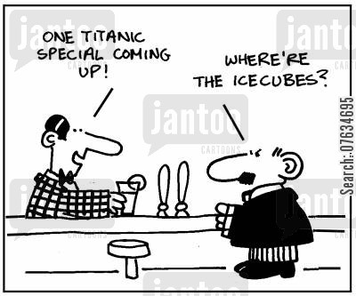 icecubes cartoon humor: One Titanic special coming up.