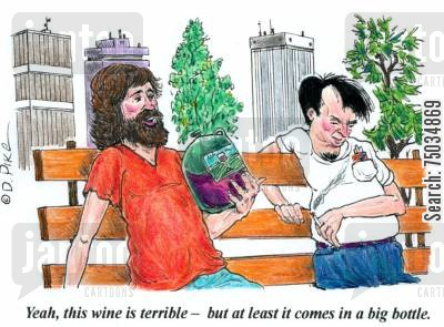 park benches cartoon humor: 'Yeah, this wine is terrible - but at least it comes in a big bottle.'