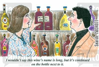 label cartoon humor: 'I wouldn't say this wine's name is long, but it's continued on the bottle next to it.'