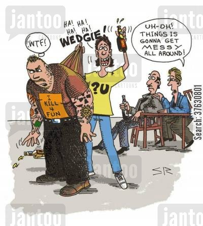 bouncer cartoon humor: 'Uh-oh Things is gonna get messy all around'