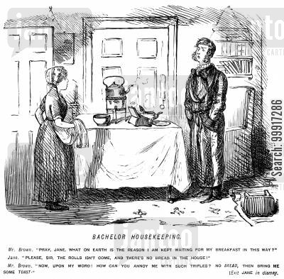 man cartoon humor: Maid explains that there is no bread so man asks for toast instead.