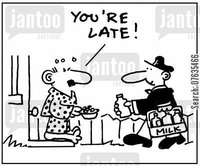 late running cartoon humor: You're late!