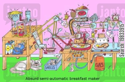battery hen cartoon humor: ABsurd semi-automatic breakfast maker