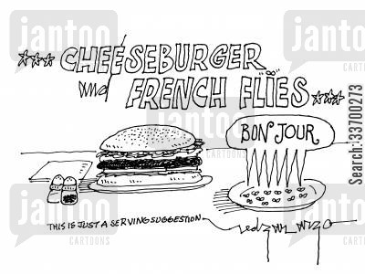 fatty food cartoon humor: Cheeseburger and French Flies