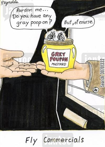 dijon cartoon humor: Fly commercials: 'Pardon me,,,do you have any gray poop on' 'But of course,'