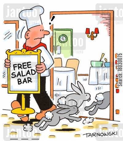 salads cartoon humor: Free salad bar.