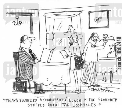 flounder cartoon humor: 'Today's Business Accountant's Lunch is the flounder stuffed with tax loopholes.'