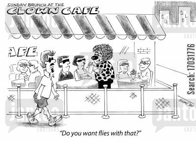 brunch cartoon humor: 'Do you want flies with that?'