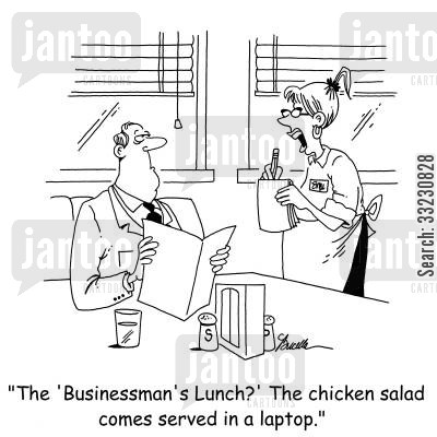 business mans lunch cartoon humor: 'The 'Business Man's Lunch?' The chicken salad comes served in a laptop.'
