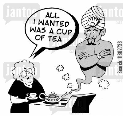 tea drinking cartoon humor: 'All I wanted was a cup of tea.'