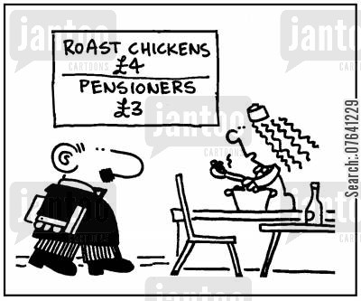 lunch lady cartoon humor: 'Roast chickens £4. Pensioners £3.'