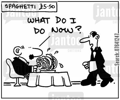 pastas cartoon humor: 'What do I do now?'