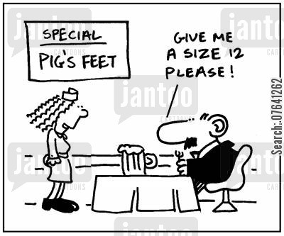 lunch lady cartoon humor: 'Give me a size 12 please.'
