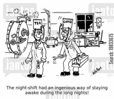 caffeinated drinks cartoon humor: The night-shift had an ingenious way of staying awake during the long nights!