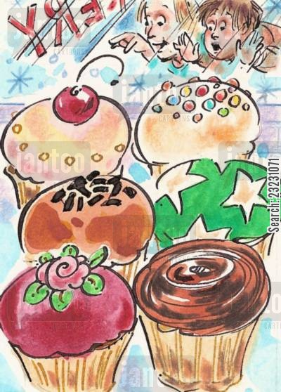baked goods cartoon humor: Cupcakes!