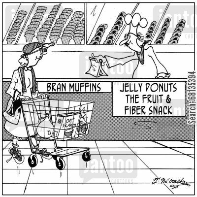bran muffin cartoon humor:  'Bran Muffins' next to 'Jelly Donuts, the Fruit and Fiber Snack.'