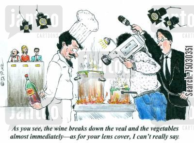 camera man cartoon humor: 'As you see, the wine breaks down the veal and the vegetables almost immediately--as for your lens cover, I can't really say.'
