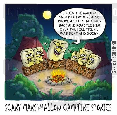 marshmallows cartoon humor: Scary Marshmallow Campfire Stories.