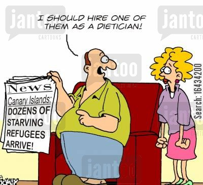european community cartoon humor: 'I should hire one of them as a dietician!'