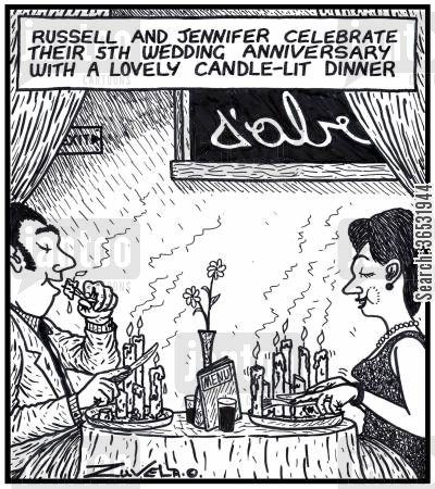 celebrates cartoon humor: Russell and Jennifer celebrate their 5th wedding anniversary with a lovely candle-lit dinner.