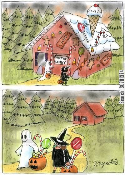 out of stock cartoon humor: Gingerbread House out of Candy.