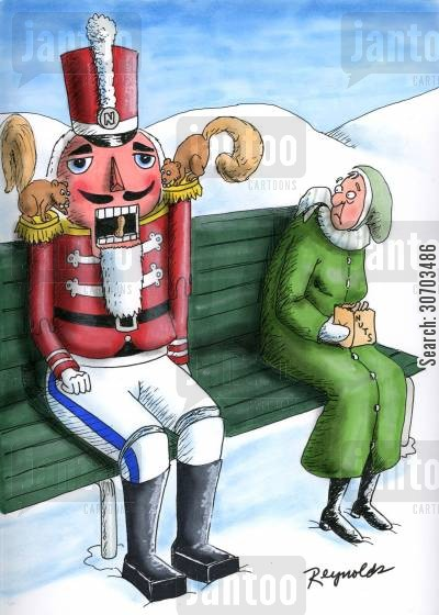 candyman cartoon humor: Squirrels Nibbling Nutcracker,