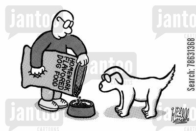 flavors cartoon humor: Homework flavored dog food