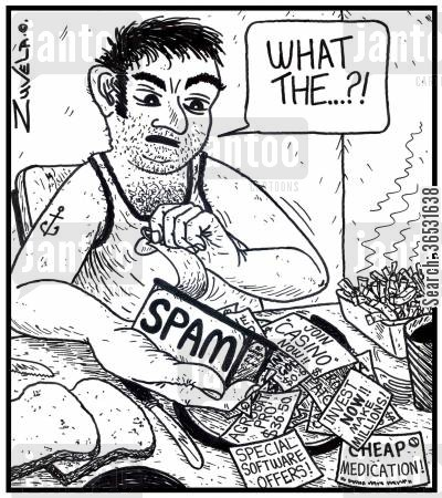 canned food cartoon humor: Man: 'What the...?!' (Internet Spam comes out of a can of spam to the horror of the purchaser.)