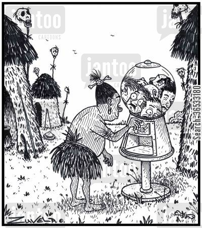 missionary cartoon humor: The Headhunter's gumball machine.