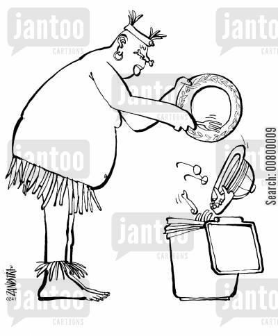 human remains cartoon humor: Cannibal scraping human remains into a dustbin.