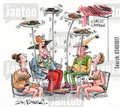 plate spinners cartoon humor: Circus Canteen.