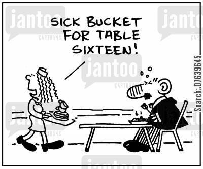 food poison cartoon humor: 'Sick bucket for table sixteen.'